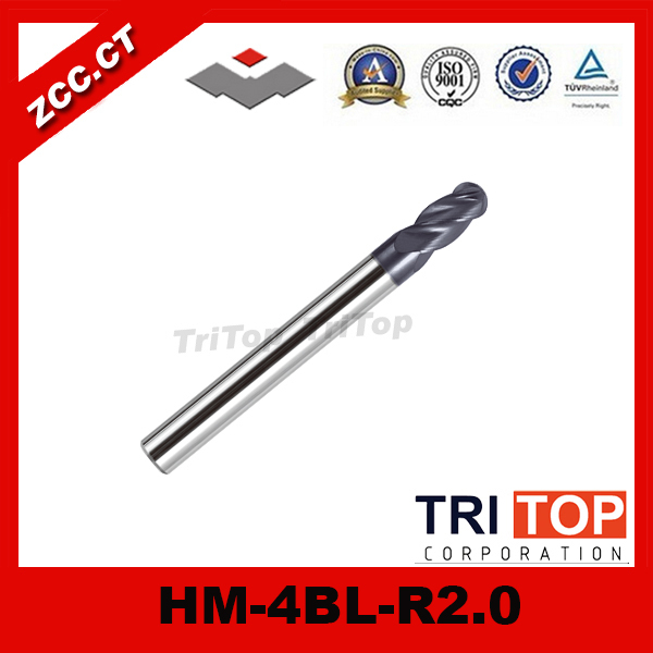 high-hardness steel machining series ZCC.CT HM/HMX-4BL-R2.0 Solid carbide 4-flute ball nose end mills with straight