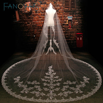 Popular Tulle Cathedral Wedding Veil One-layer Sequins Beaded Lace Appliques Edge Bridal Veil voile de mariee