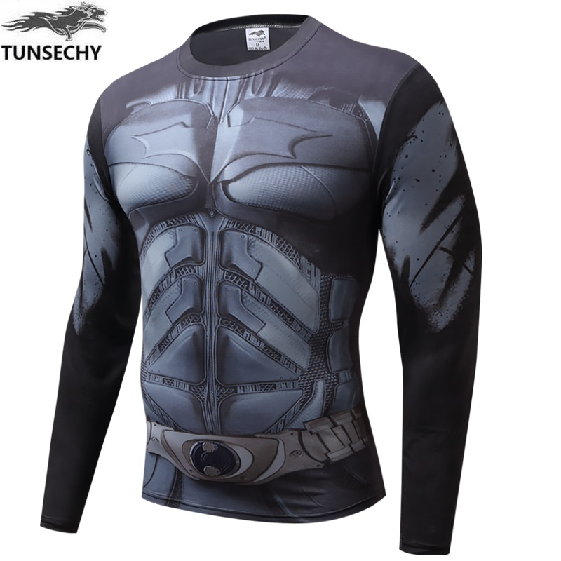 Men Crossfit Long Sleeve Compression Shirt Marvel 3D Superhero Superman T Shirt Tights Fitness Men Tops Free transportation