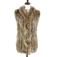 2019 Real Fur Vest Raccoon Dog Fur Collar Waistcoat Natural knitted Rabbit Fur Vest Gilet For Women Retail/wholesale Gilet
