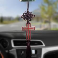 Car Rearview Mirror Hanging Ornaments Christian Wood Cross Decoration Jesus Christ Hollow Cross Tassel Auto Interior Accessories