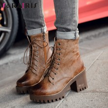 SARAIRIS New Retro Old Style Motorcycle Boots Woman Platform High Heels Lace Up Ankle Boots Woman Shoes Woman Large Size 32-43(China)