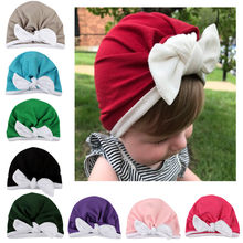 Baby Boys Girls Hats Cute Newborn Toddler Kids Turban Cotton Beanie Hat 2018 New Winter Keep Warm Caps Bow-knot Baby Cap 1030(China)