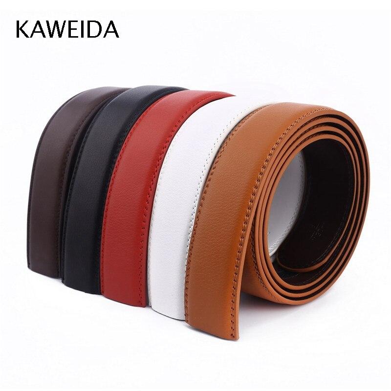 KAWEIDA 3.5cm Wide Cowskin Men's Genuine Split Leather No Without Buckle Waist Belt Body Belts 110-140cm Kemer Cinto 5 Colors