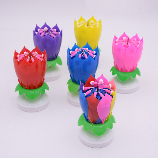 Beautiful Musical Lotus Music Birthday Candle Singing Double Layer