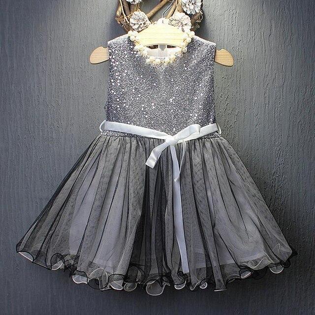 7585e9649 Girl Dresses Silver Sequined Sleeveless Dress Baby Girl Wedding Veil ...
