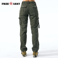 Military Army Green Cargo Pants Women Pockets Tactical Straight Trousers Winter Regular Cotton Trousers Female Jogger Sweatpants