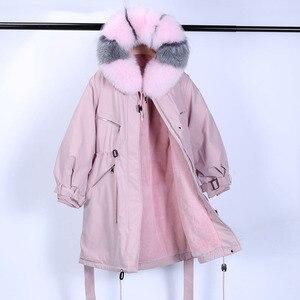Image 4 - Winter Jacket Women Brand 2020 Long Parka Natural Raccoon Fox Fur Collar Hooded Real Fur Coat Female Warm Snow Coats