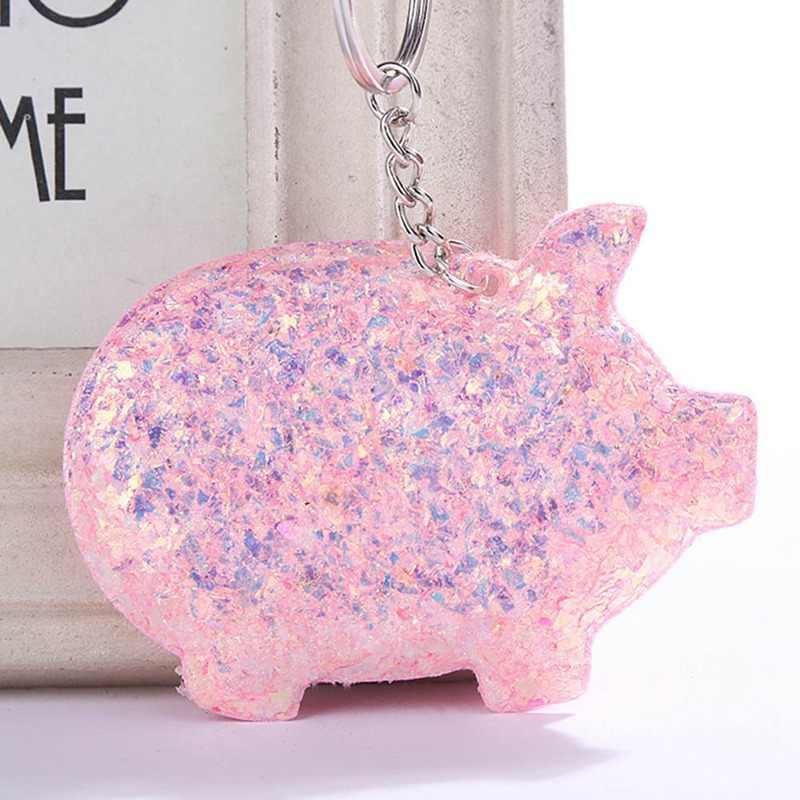 2019 Bonito Pompom Glitter Lantejoulas Presentes Da Corrente Chave Chaveiro Chaveiro de Porco para As Mulheres Llaveros Mujer Saco Chave Acessórios Do Carro Anel