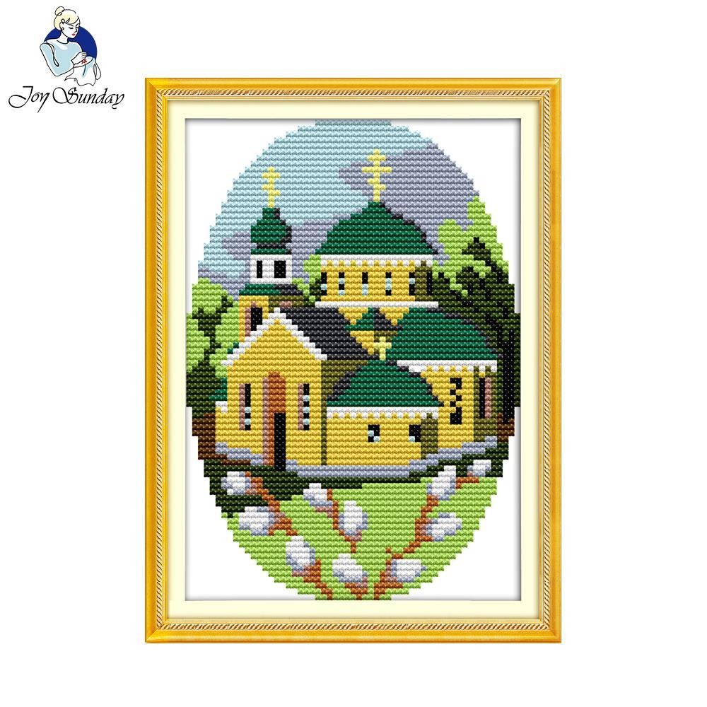 Joy Sunday Four season cabin 1 spring Diy Embroidery painting Cross stitch kit Needlework sets Cross