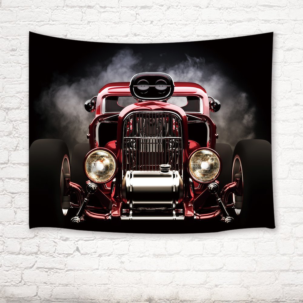Classic Cars Decor Tapestry Vintage American Hot Rod Roadster with ...