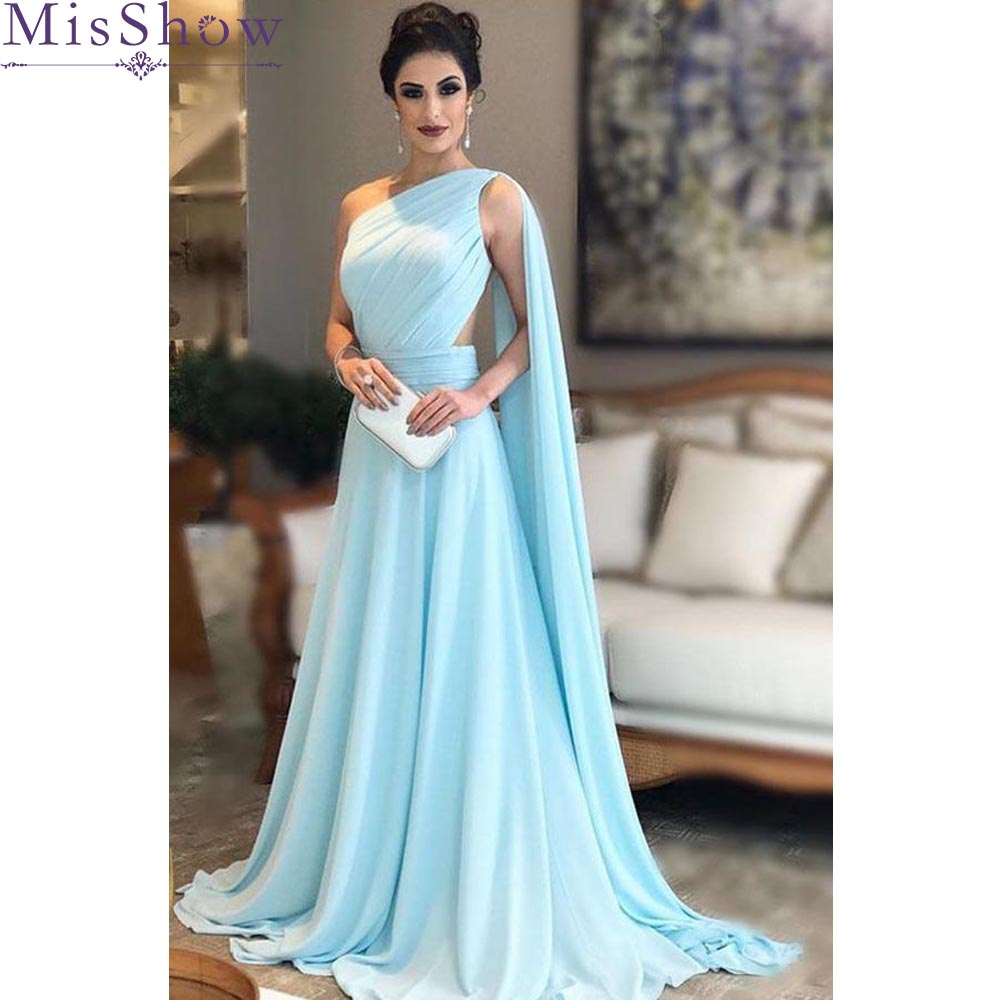 Misshow One Shoulder Chiffon   Bridesmaid     Dresses   Long Sleeveless Sexy Wedding Party   Dresses   Women robe demoiselle d'honneur