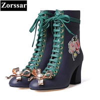 Zorssar 2018 Winter Ladies Shoes Fashion Embroidery Flowers Genuine Leather Solid High Heels Ankle Boots