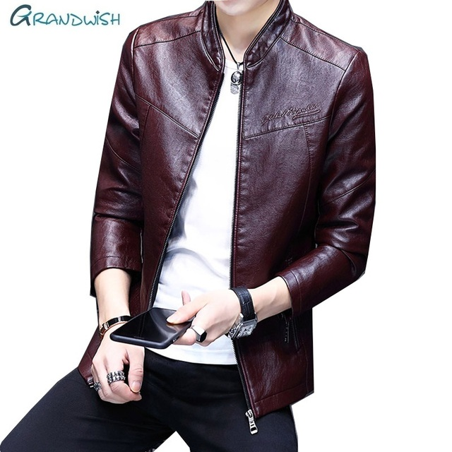 Grandwish 2018 Newest Windbreaker Leather Jacket PU Men Zipper Autumn Motorcycle jaqueta de couro masculino Faux Leather,DA768