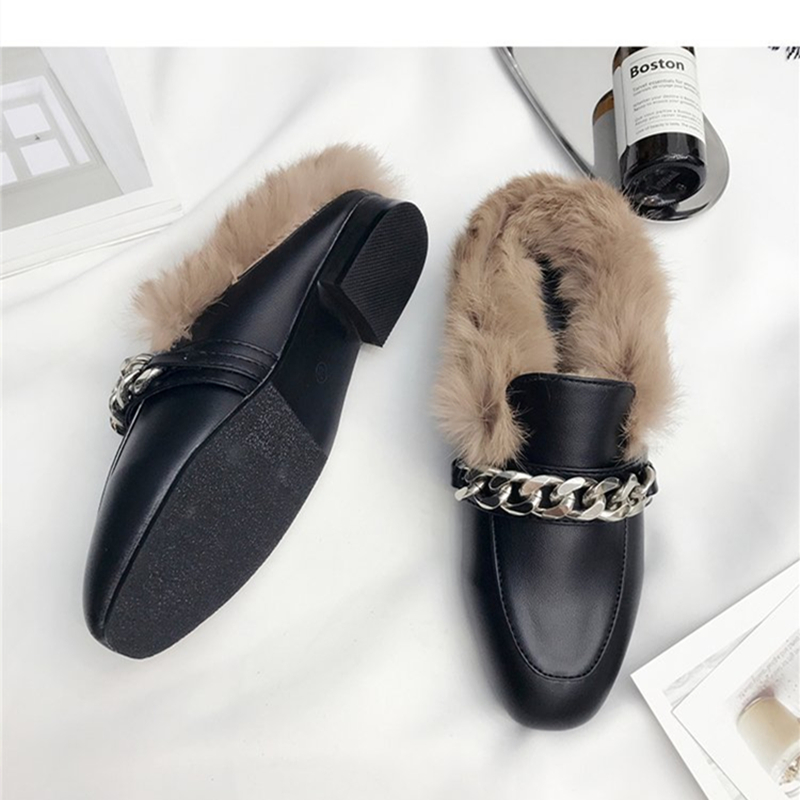 2017 Spring and Autumn Fashion Leather Shoes Woman With Metal Chain Flat Slippers Fur Slides Mules Casual Large Size 5 to 9.5 high quantity medicine detection type blood and marrow test slides