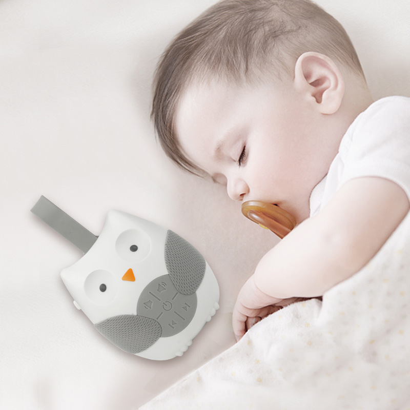 Baby Sleep Cartoon Owl White Noise Machine Soothers Sound Record Voice Sensor With 12 Soothing Sound Auto-off Timer Baby Monitor