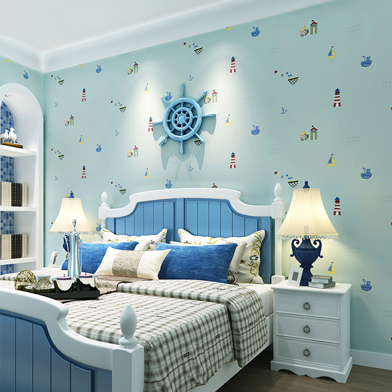 Mediterranean Style Cartoon Children Wall Paper 3D Non Woven