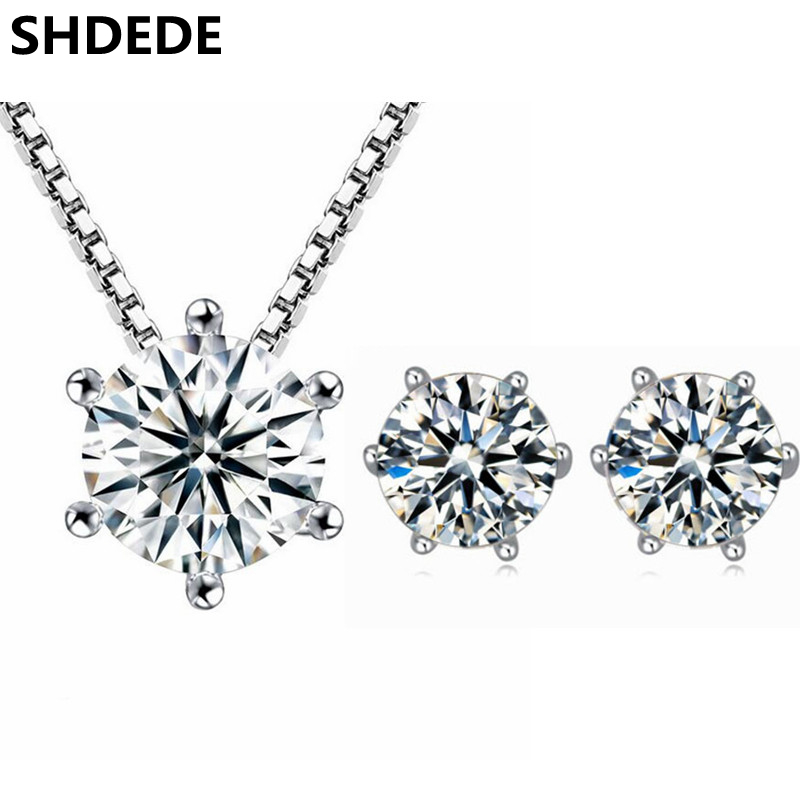 d322eea1a SHDEDE Clear Cubic Zirconia CZ Crystal from Swarovski Fashion Necklaces Earrings  Jewelry Sets For Women Accessories