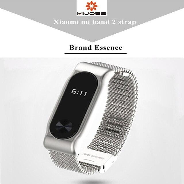 Mijobs Milanese Metal Strap For Xiaomi Mi Band 2 Smart Watch Screwless Stainless Steel Bracelet Miband 2 Strap Wristbands 1