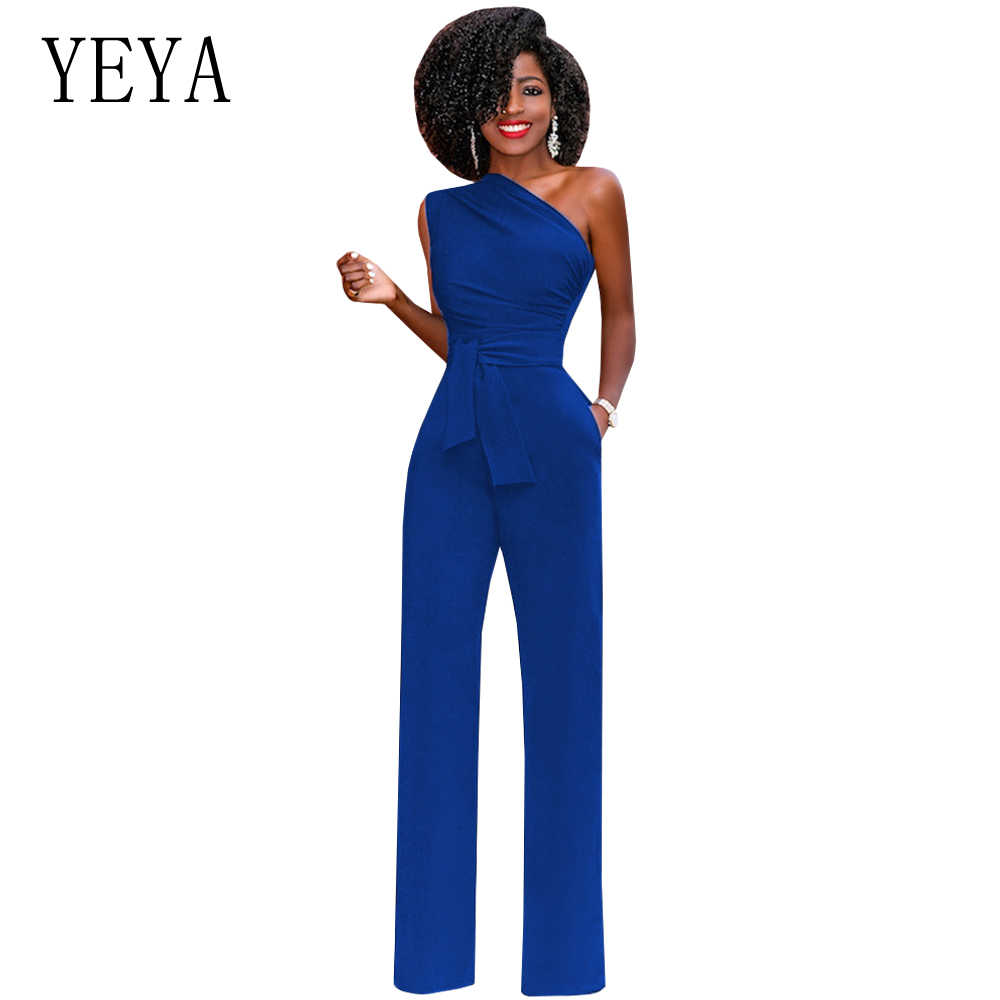 6bf9324239c1 YEYA One Shoulder Elegant Jumpsuit Summer Sleeveless Belted Wide Leg  Jumpsuit Women Overalls Office Party Rompers