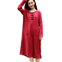 Long Sleeve Cotton Dress Chinese Traditonal Style Women Elegant Dresses Ladies Spring Casual Long Dress Pull