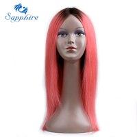 Сапфир волос 1B розовое золото бразильский Синтетические волосы на кружеве натуральные волосы парики для черный Для женщин 22 бразильский Р