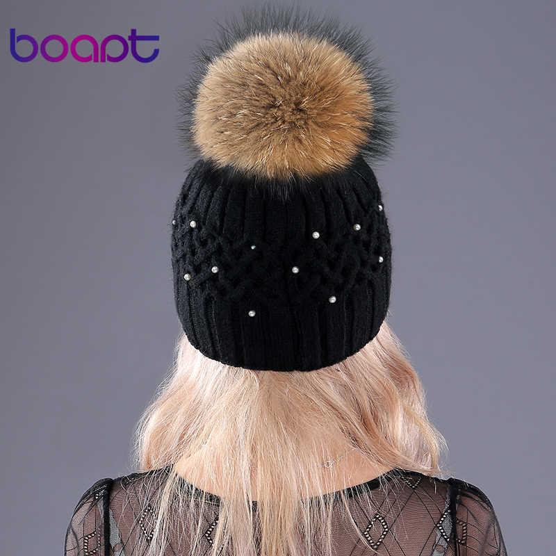 [Boapt] Genuine Natural Raccoon Fur Coelho Inverno Double-deck de Veludo Chapéus Para As Mulheres Pérola Embed Caps Feminino skullies Gorros