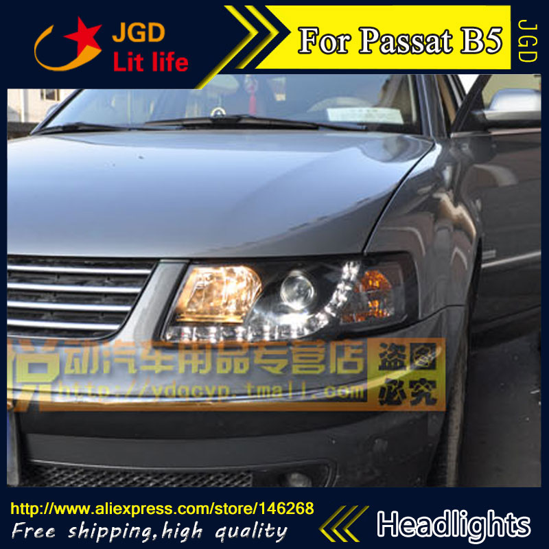 Free shipping ! Car styling LED HID Rio LED headlights Head Lamp case for VW Passat B5 1998-2005 Bi-Xenon Lens low beam