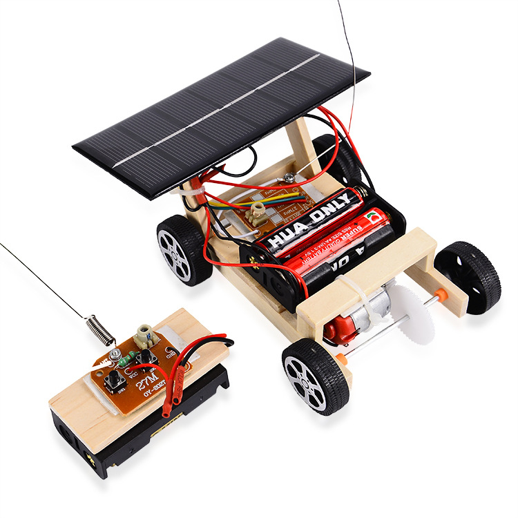 NEW RC Car Kids Gift Vehicle DIY Assembly Building Tube Solar Powered Mini Educational Toy Wooden Scientific Experiment Model