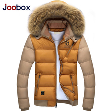 JOOBOX Brand 2017 Men's Winter Hooded Fur Collar Parkas Men Thin Overcoats Male Fashion Slim Warm Jackets Padded Brand Clothing