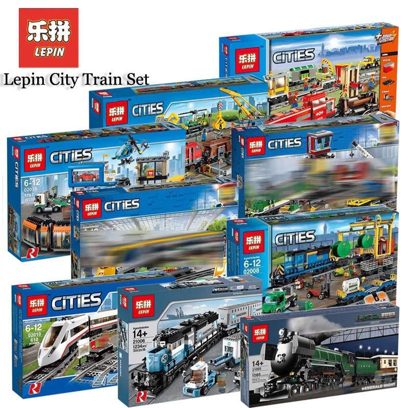 Новый LEPIN Сити двигатель грузовой поезд набор 02008 02009 21005 21007 21006 Совместимость Legoing модель здания наборы Конструкторы кирпичи мальчик игрушеч...