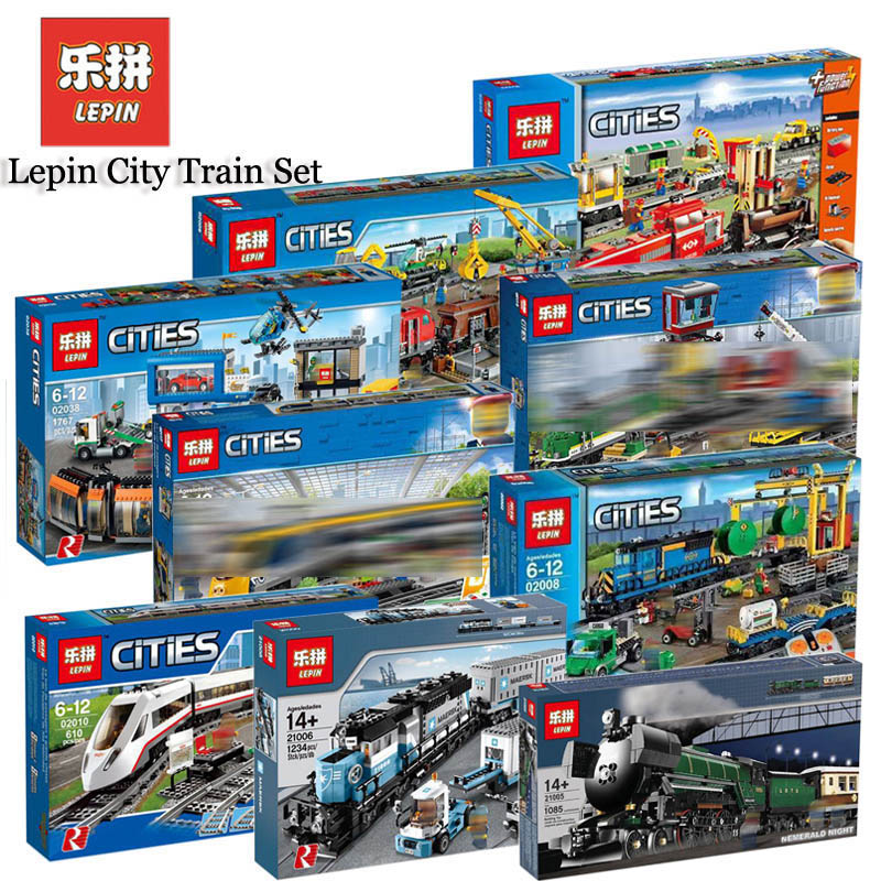 Lepin City font b Motor b font Cargo Train Set 02008 02009 02010 21005 21006 Compatible