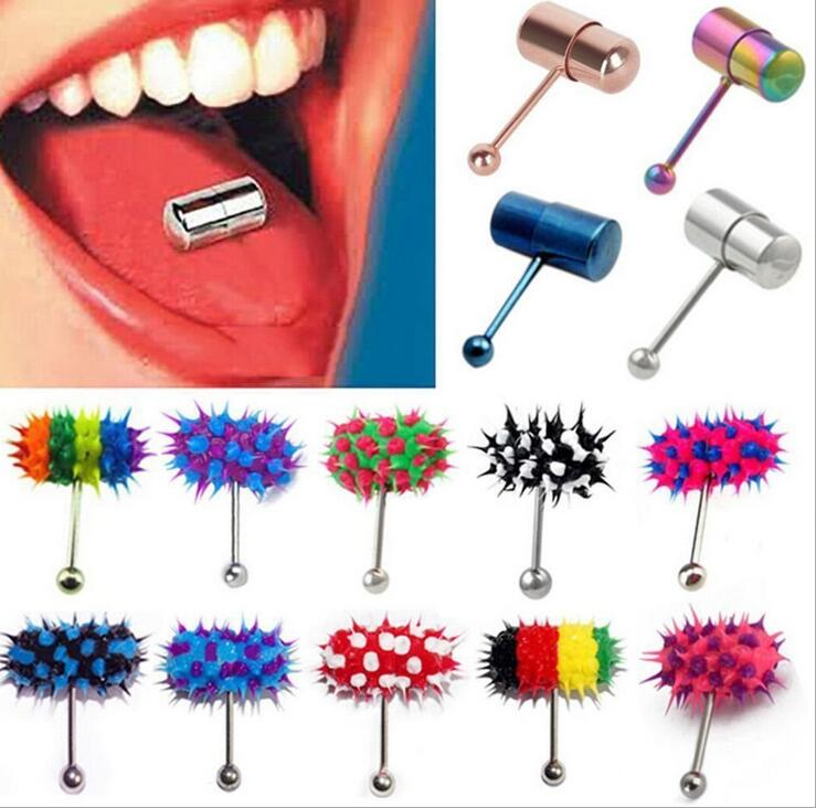 Fashion Rock Personality Vibrating Tongue Ring Body Piercing Jewelry With 2 Batteries plugs and tunnels body jewelry for Women