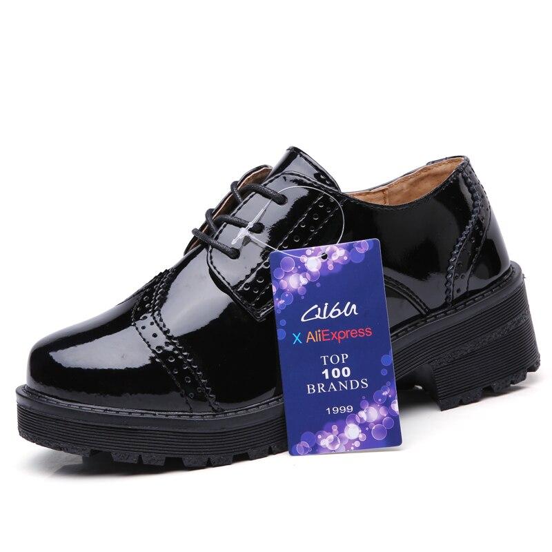 d070d3b8db8 O16U mujer bajo Top clásico Oxfords zapatos de charol con cordones Med Tacón  cuadrado señoras negro zapatos marca Brogue Oxford zapatos en Pisos de las  ...