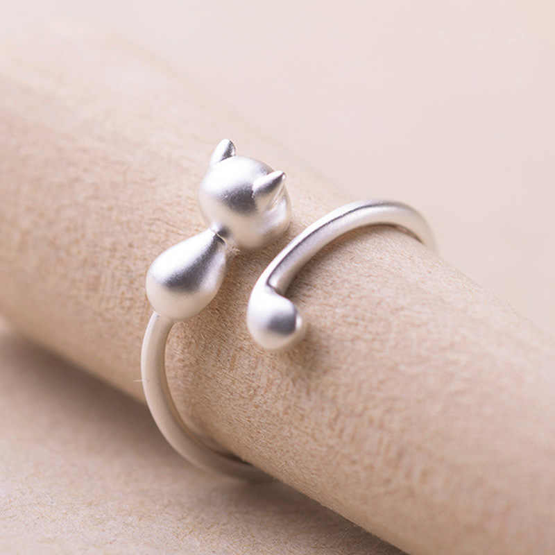 2019 Hot Sale Fashion Lovely Silver Plated Cute Cat Rings for Women Animal Cat Eyes Open Ring Vintage Jewelry