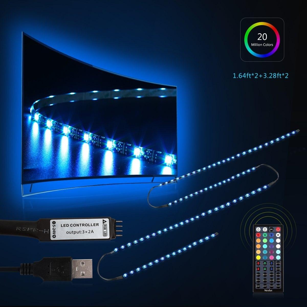 TV Backlight Lighting 5050 LED Strip Lights RGB Light With IR Controller 1 pcs lj64 03514a 2012sgs40 7030l 56 rev1 0 led tv backlight strip 56 led 493mm