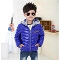 Новые Зимние теплые дети пуховик, чистый цвет моды дети пуховик, с капюшоном водонепроницаемый теплый мальчик девочка хлопка куртки