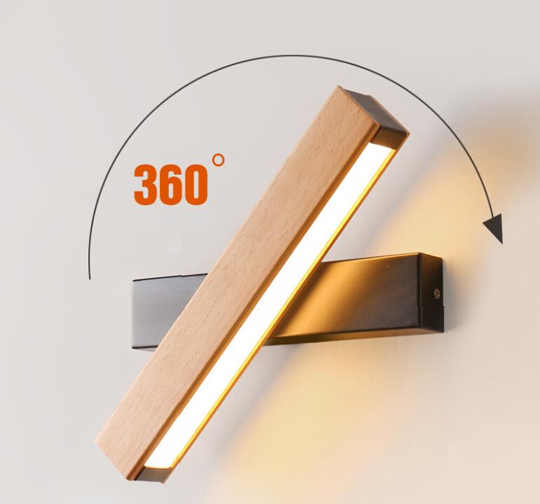 Nordic simple Wooden LED Wall Lamp Modern Adjustable Lighting bar restaurant Living room Porch Wall Lamps decor light