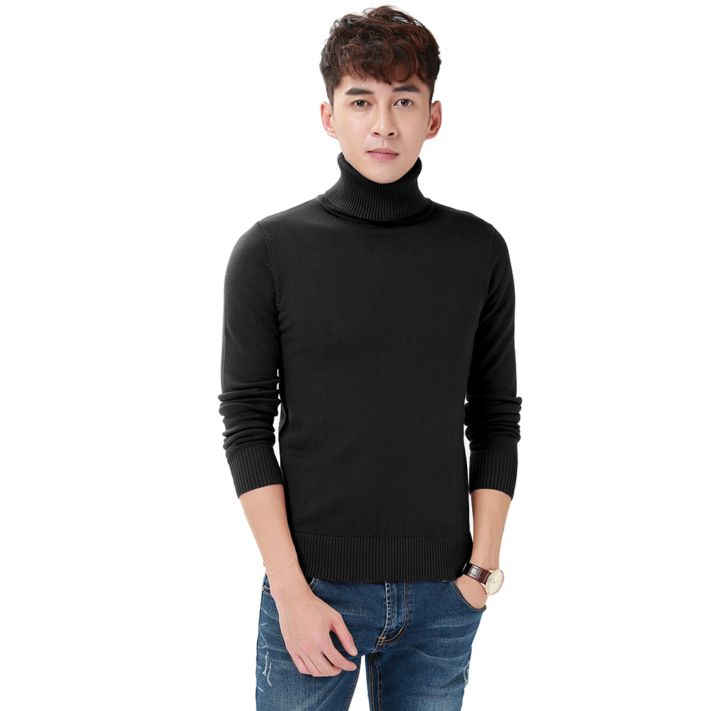 Harajuku Men Solid Color Turtleneck Loose Brief Thermal Thickening Retro Sweater Male Handsome Knitted Jumper And Pullover (6)