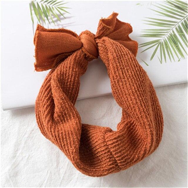 1 PC Winter Warm Ear Warmer Headwrap Xmas Girls' Crochet Headband Knitted Bow Hairband Hair Band Accessories 3