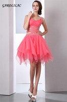 Сексуальные платья с открытой спиной 2019 светло Коралловая пышная органза юбка Короткие Выпускные платья для выпускного вечера