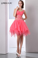 Sexy Backless Homecoming Dresses 2018 Light Coral Puffy Organza Skirt Graduation Dresses Short Prom Dresses