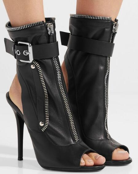 New Black PU Women High Heel Motorcycle Boots Sexy Peep Toe Ladies Buckles Ankle Short Boots Slingback Zipper Connect Boots new popular black and white exquisite beads and rivets decorated three buckles peep toe high heeled short sandal boots