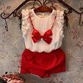 2015 новый год девушки одежда наборы (Футболка + короткие + ожерелье) новорожденных девочек одежда детская одежда детские костюмы бесплатная доставка