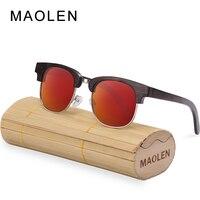 MAOLENFashion Round Frame Wooden Sunglasses Polarized Men Women Retro Gafas Handmade Bamboo Wood Sun Glasses UV400