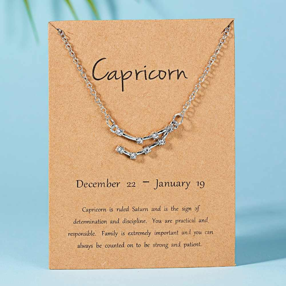 Rinhoo de moda cristal brillante estrella Zodiaco signo 12 constelación collares con colgantes mujer elegante gargantilla de plata collares joyería