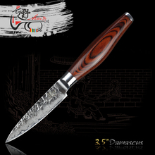 """HAOYE 3.5 """"japonés vg10 damasco cuchillo de cocina de acero forjado de lujo de alta calidad pelar fruta cuchillo pequeño sharp cuchillos de cocina nueva"""