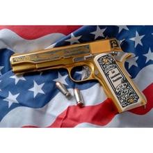 """Новая полная круглая/квадратная Алмазная вышивка доска искусство """"американский золотой пистолет"""" Алмазная Живопись Вышивка крестом Рождественский подарок GT"""