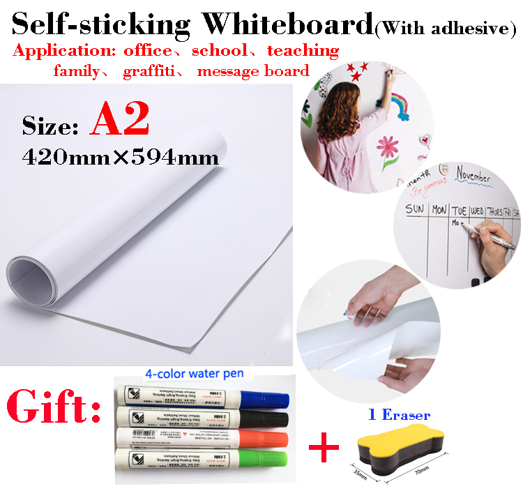 1pcs A2 Size Whiteboard Soft Message Board Suitable For Office Teaching Children's Drawing Graffiti With Self Adhesive Coating