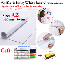 1PCS A2 Size Whiteboard Soft Message Board Suitable for Office Teaching Children's Drawing Graffiti with Self-adhesive Coating